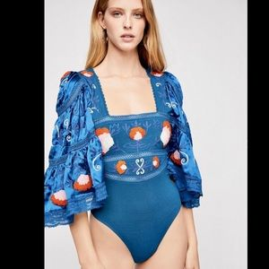 Free People Embroidered Satiny Thong Bodysuit S